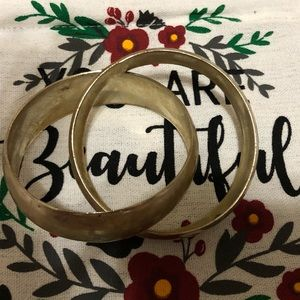 Double chunky gold bangles